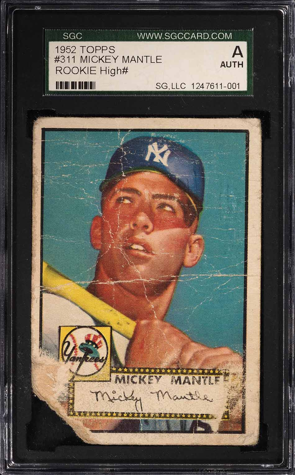 1952 Topps Mickey Mantle #311 SGC Auth (PWCC) - Image 1