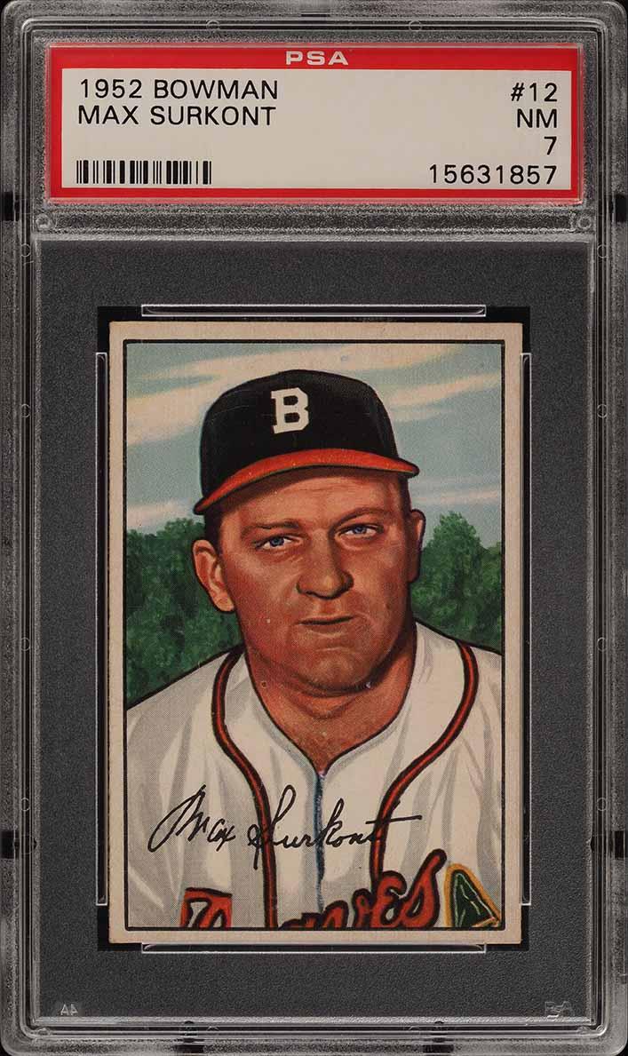 1952 Bowman SETBREAK Max Surkont #12 PSA 7 NRMT (PWCC) - Image 1