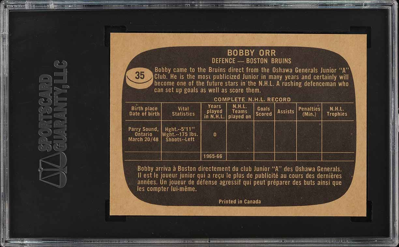 1966 Topps Hockey Bobby Orr ROOKIE RC #35 SGC 9 MINT (PWCC) - Image 2