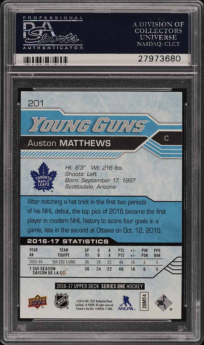 2016 Upper Deck Young Guns Auston Matthews ROOKIE RC #201 PSA 10 GEM MINT (PWCC) - Image 2