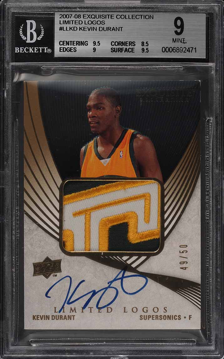 2007 Exquisite Collection Limited Kevin Durant RC AUTO PATCH /50 BGS 9 (PWCC) - Image 1
