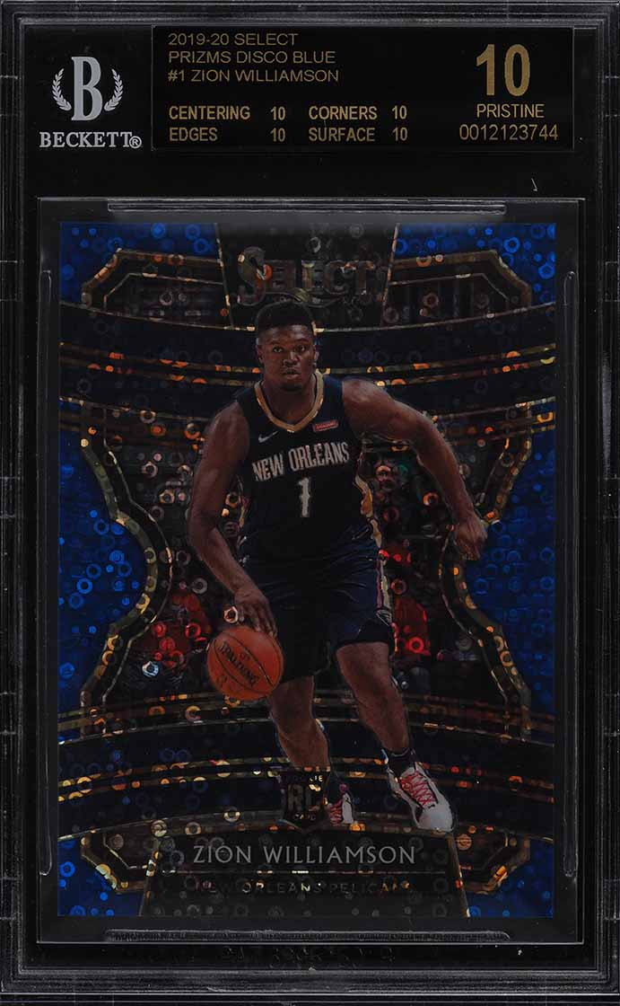2019 Select Prizms Disco Blue Zion Williamson ROOKIE RC /25 #1 BGS 10 (PWCC) - Image 1