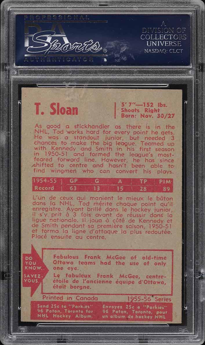 1955 Parkhurst Tod Sloan #10 PSA 6.5 EXMT+ - Image 2