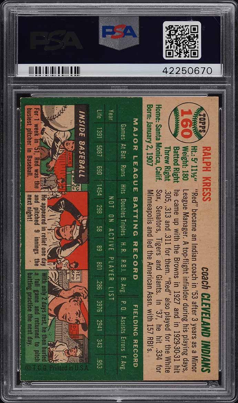 1954 Topps Red Kress #160 PSA 9 MINT - Image 2