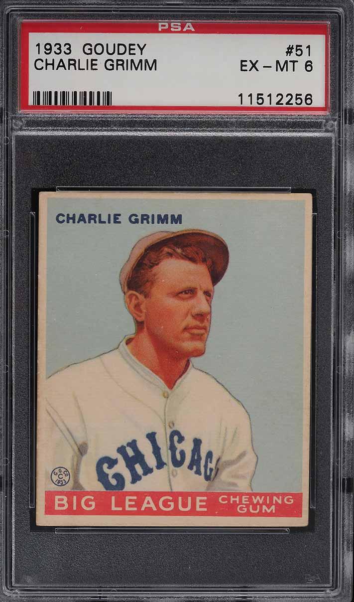1933 Goudey Charlie Grimm #51 PSA 6 EXMT - Image 1