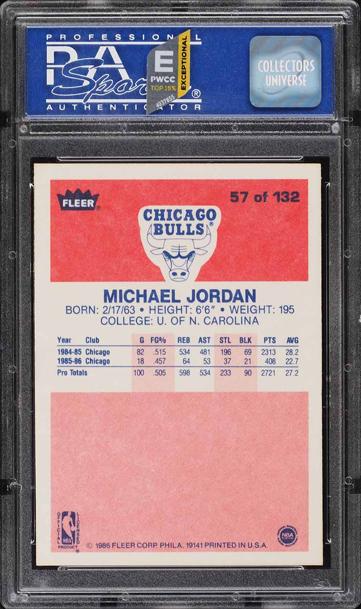 1986 Fleer Basketball Michael Jordan ROOKIE RC #57 PSA 9 MINT (PWCC-E) - Image 2