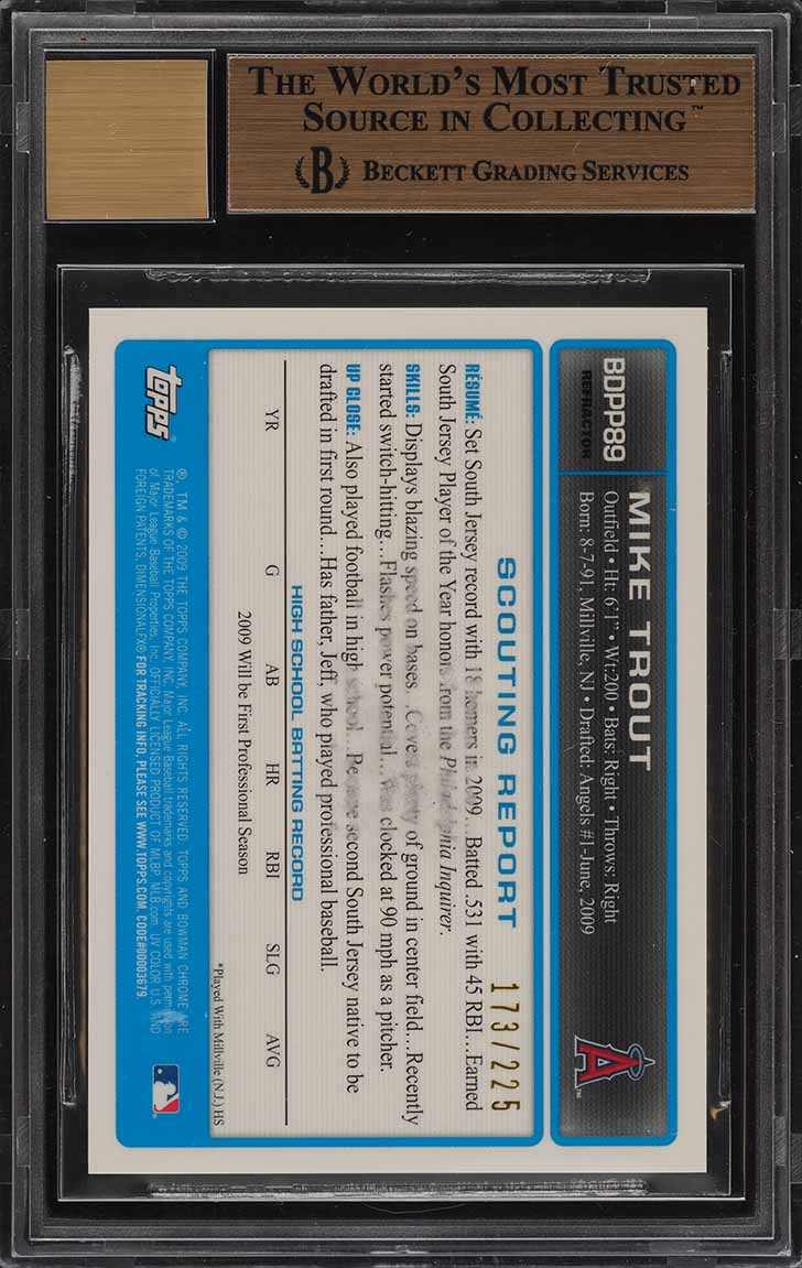 2009 Bowman Chrome Xfractor Mike Trout ROOKIE RC AUTO /225 BGS 9.5 GEM MT (PWCC) - Image 2