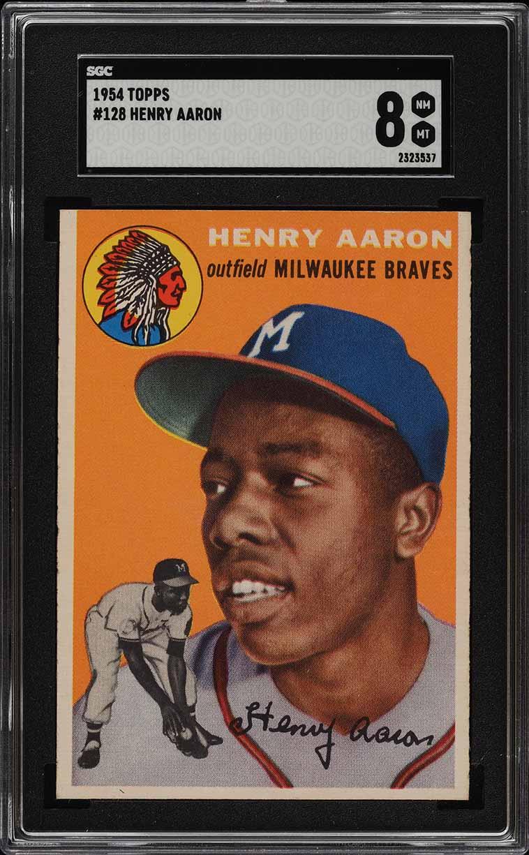 1954 Topps Hank Aaron ROOKIE RC #128 SGC 8 NM-MT (PWCC) - Image 1