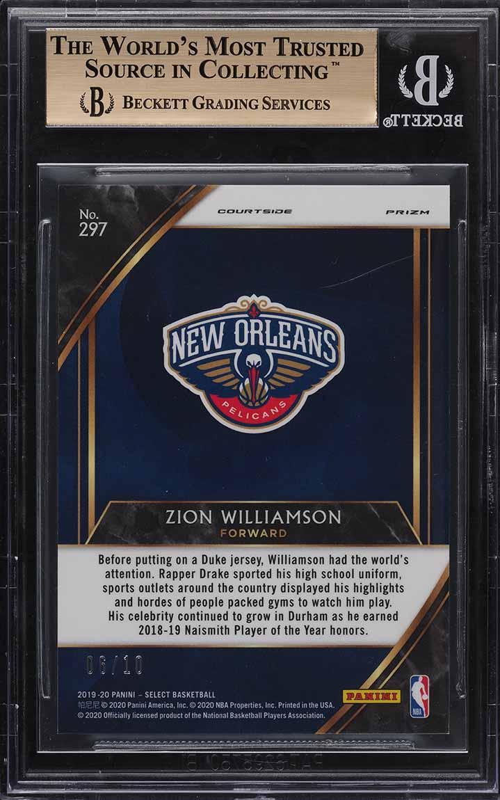 2019 Select Gold Prizm Zion Williamson ROOKIE RC /10 #297 BGS 9.5 GEM MINT - Image 2