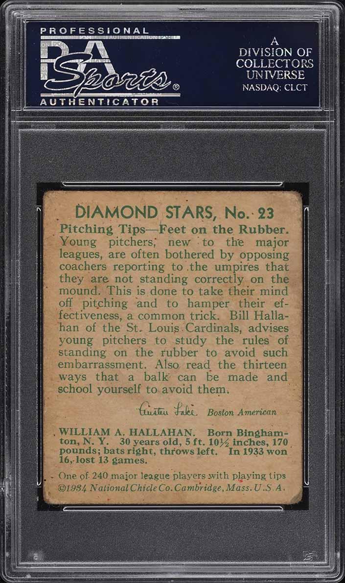 1934 Diamond Stars Bill Hallahan #23 PSA 2.5 GD+ - Image 2