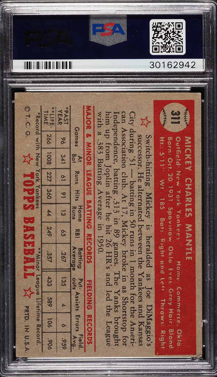 1952 Topps Mickey Mantle #311 PSA 5 EX (PWCC) - Image 2