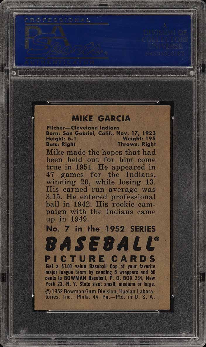 1952 Bowman SETBREAK Mike Garcia #7 PSA 8 NM-MT (PWCC) - Image 2