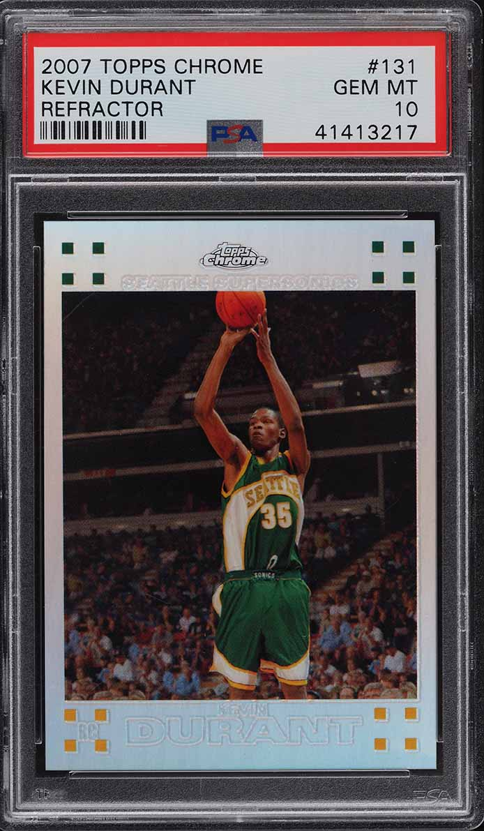 2007 Topps Chrome Refractor Kevin Durant ROOKIE RC /1499 #131 PSA 10 GEM MINT - Image 1