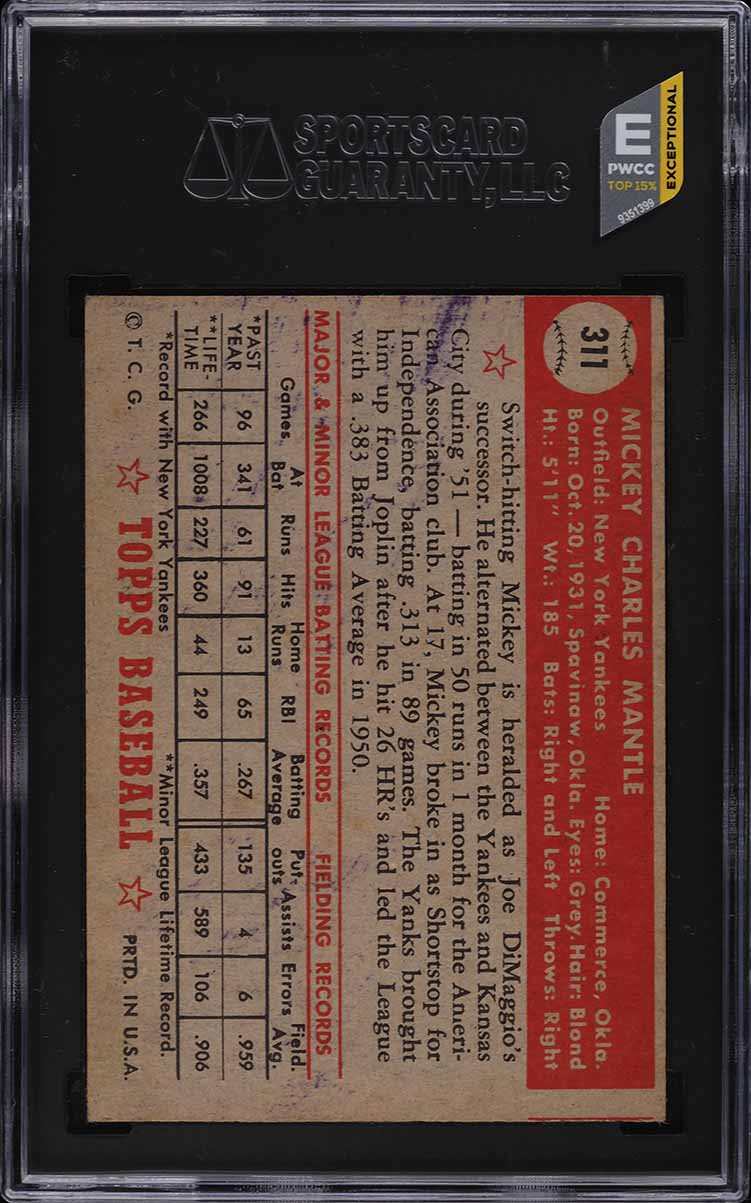1952 Topps Mickey Mantle #311 SGC 2 GD (PWCC-E) - Image 2