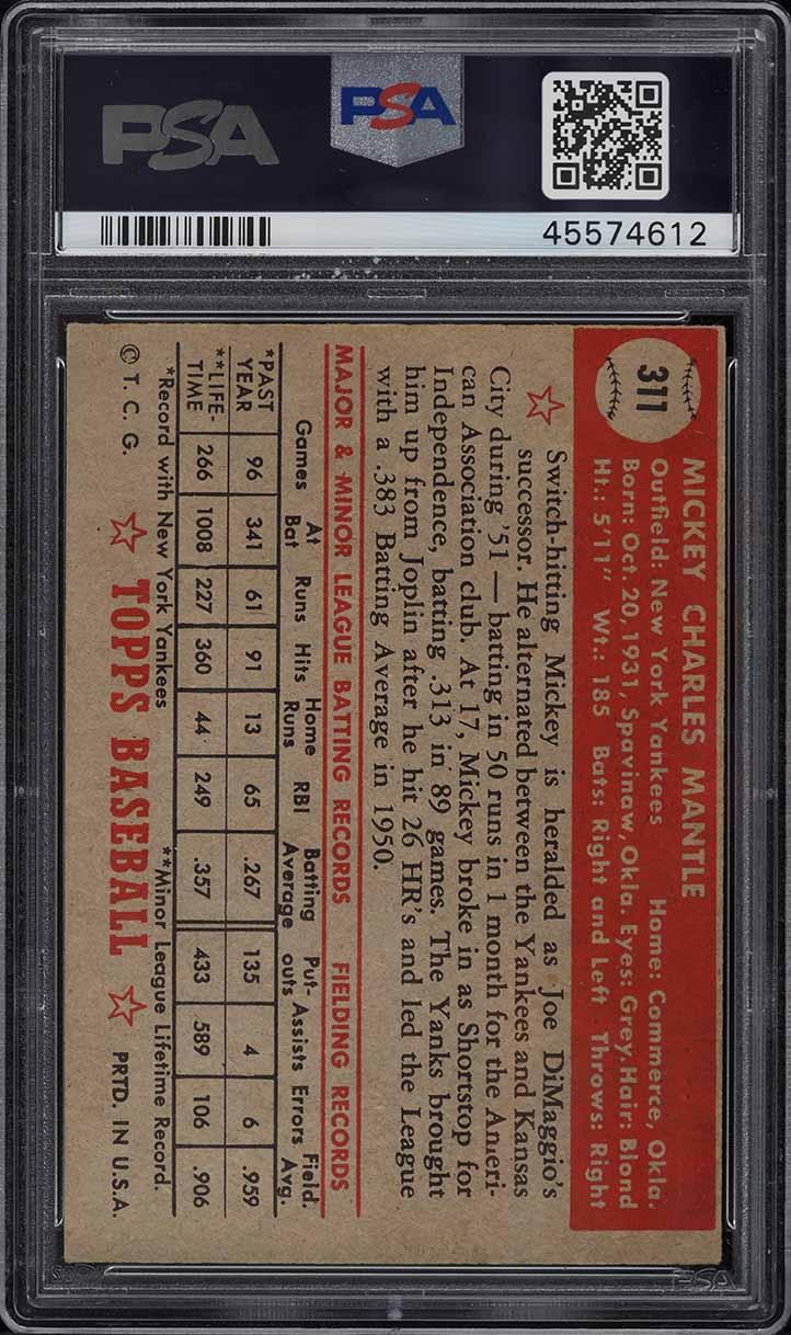 1952 Topps SETBREAK Mickey Mantle #311 PSA 5 EX - Image 2
