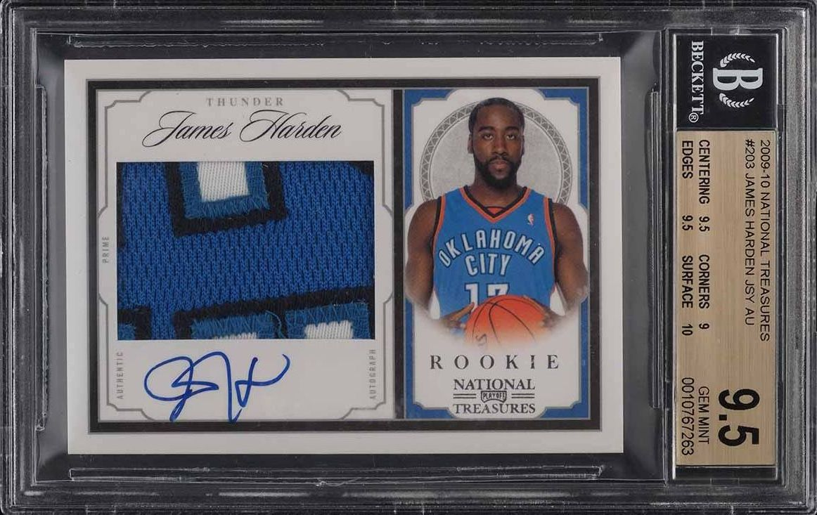 2009 National Treasures James Harden ROOKIE RC PATCH AUTO /99 #203 BGS 9.5 GEM - Image 1