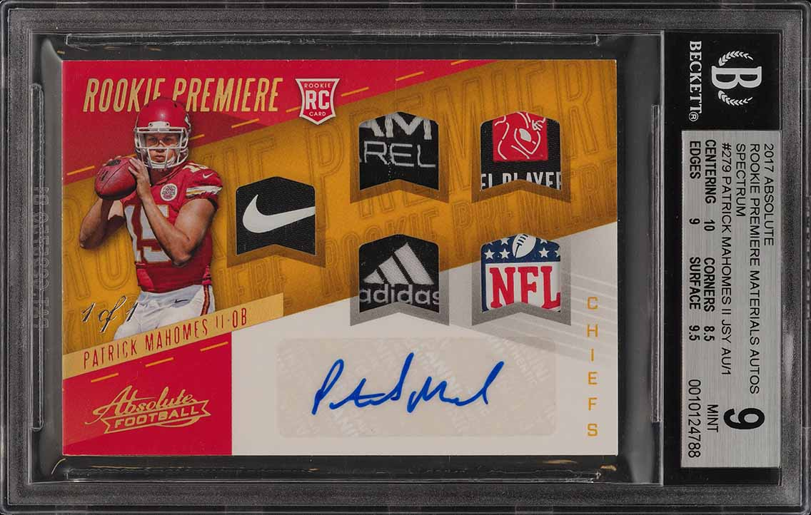 2017 Absolute Premiere Spectrum Patrick Mahomes ROOKIE PATCH AUTO 1/1 BGS 9 PWCC - Image 1