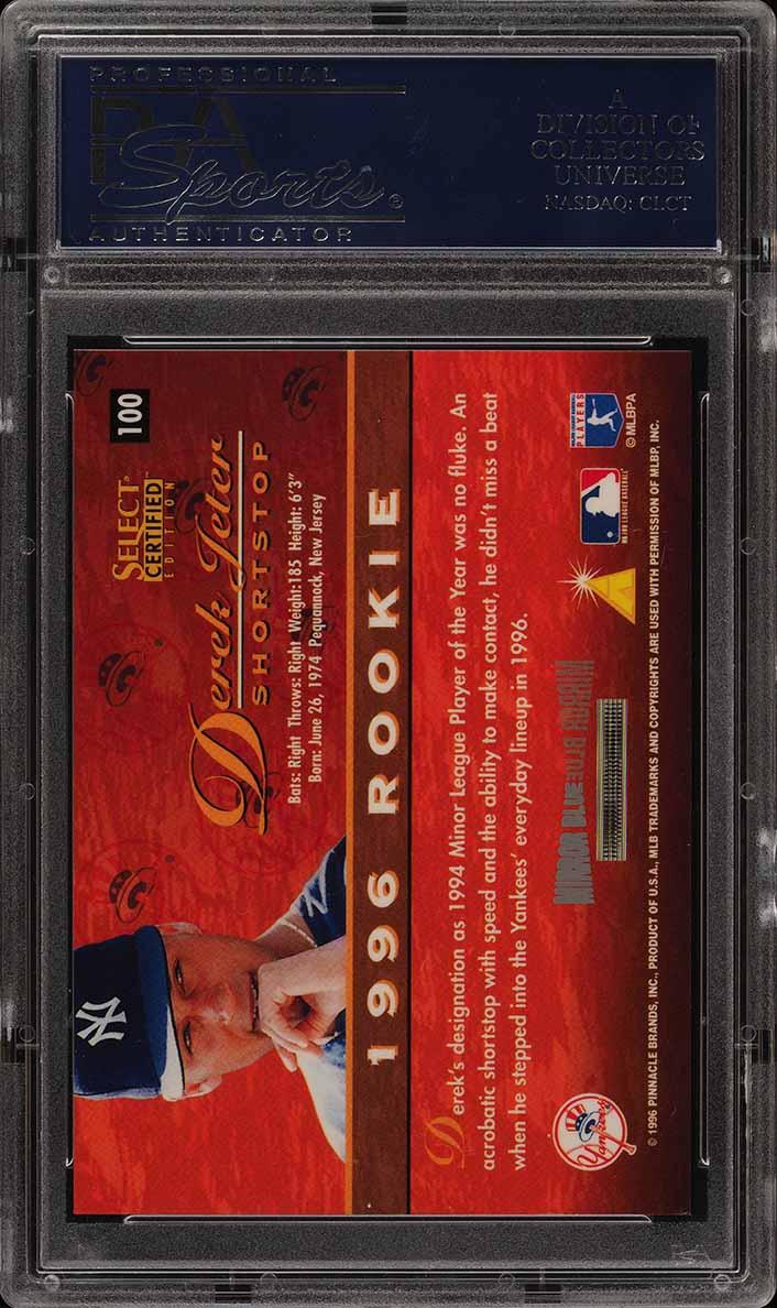 1996 Select Certified Mirror Blue Derek Jeter ROOKIE /45 #100 PSA 9 MINT (PWCC) - Image 2
