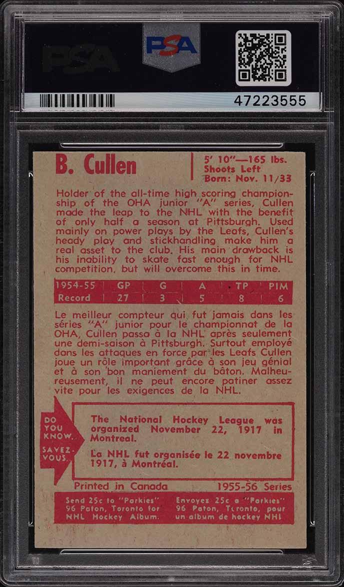 1955 Parkhurst Brian Cullen #13 PSA 7 NRMT - Image 2