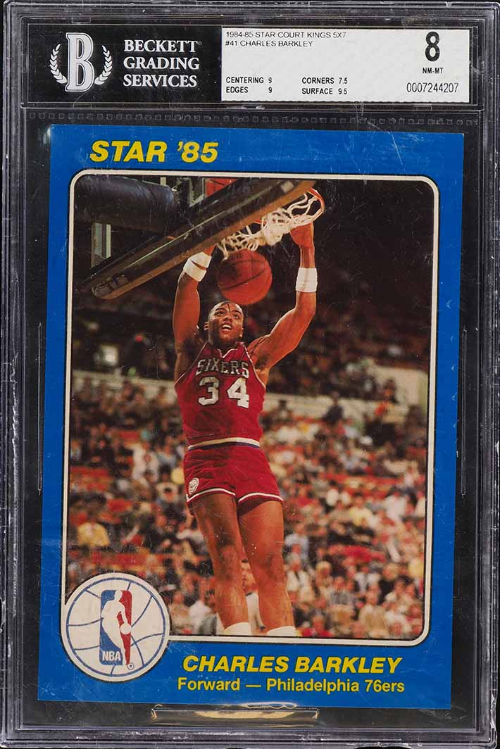 1984-85 Star Court Kings 5X7 Charles Barkley ROOKIE RC #41 BGS 8 NM-MT (PWCC) - Image 1