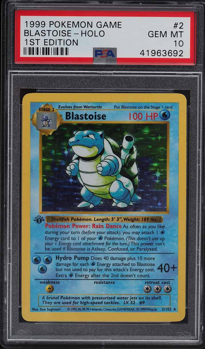 1999 Pokemon Base Set 1st Edition Shadowless Holo Blastoise #2 PSA 10 GEM MINT - Image 1