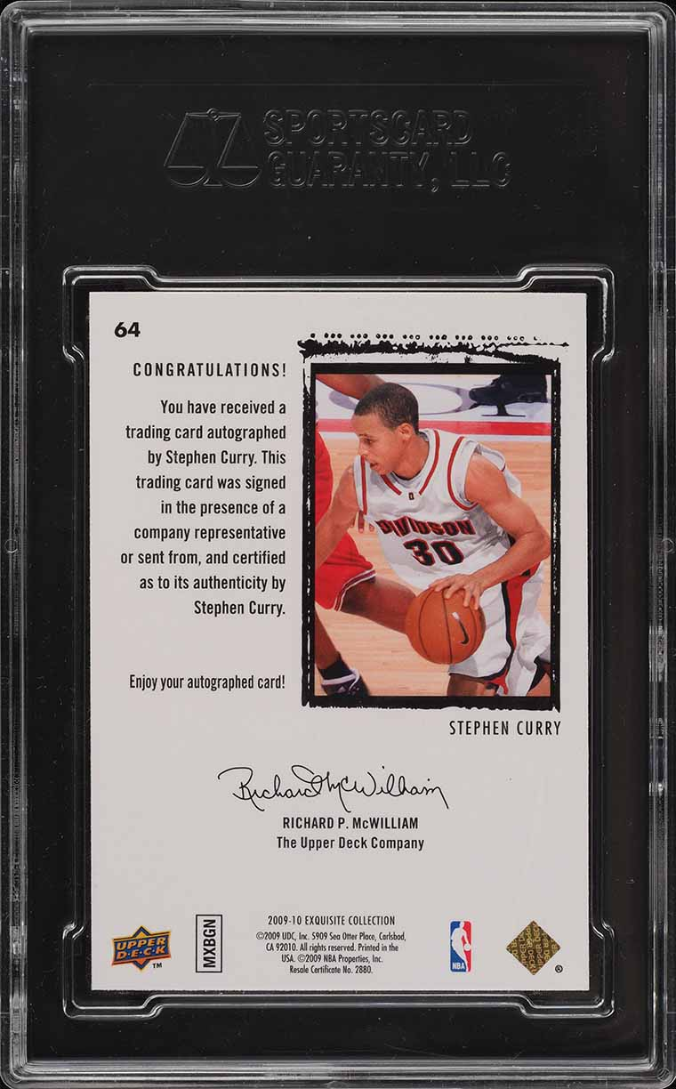 2009 Exquisite Collection Stephen Curry ROOKIE RC '10' AUTO /225 #64 SGC 9.5  - Image 2