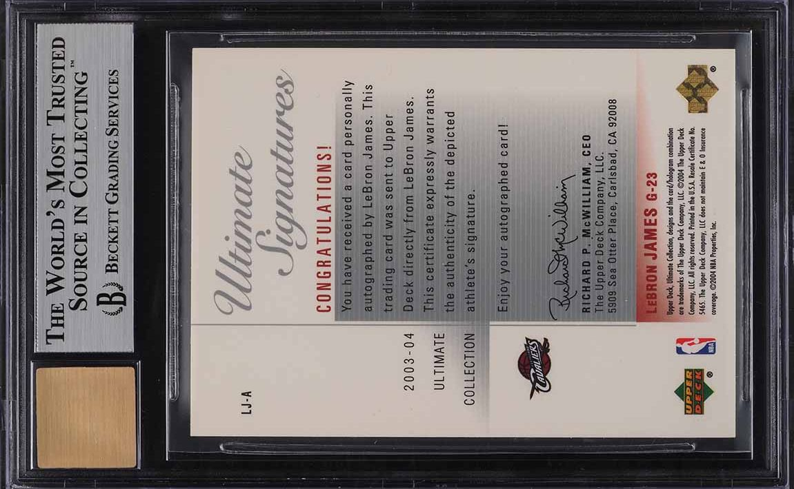 2003 Ultimate Collection Signatures LeBron James ROOKIE RC AUTO BGS 9 MINT - Image 2