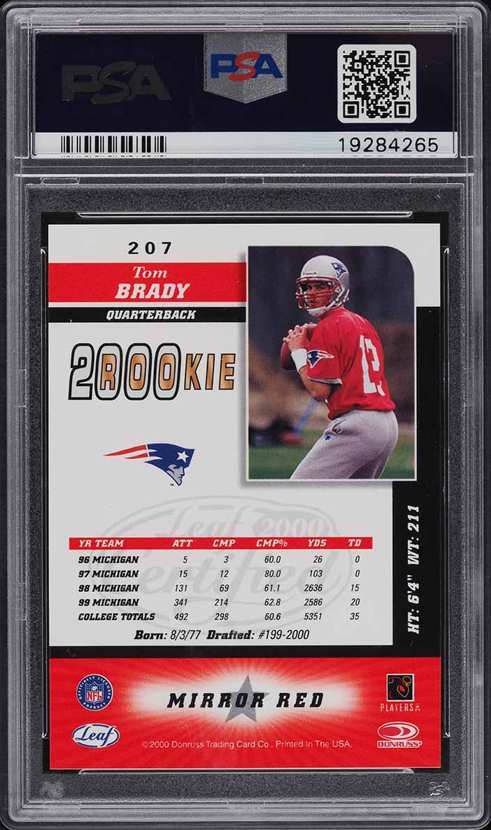 2000 Leaf Certified 4 Star Mirror Red Tom Brady ROOKIE RC #207 PSA 10 GEM MINT - Image 2