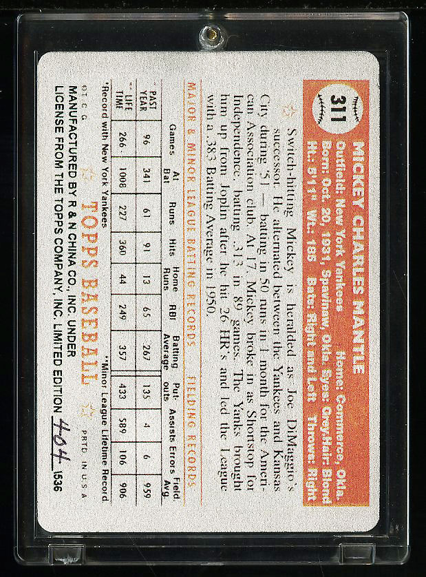 1952 Topps Mickey Mantle #311 The Keeper Series Commemorative /536 COA (PWCC) - Image 2