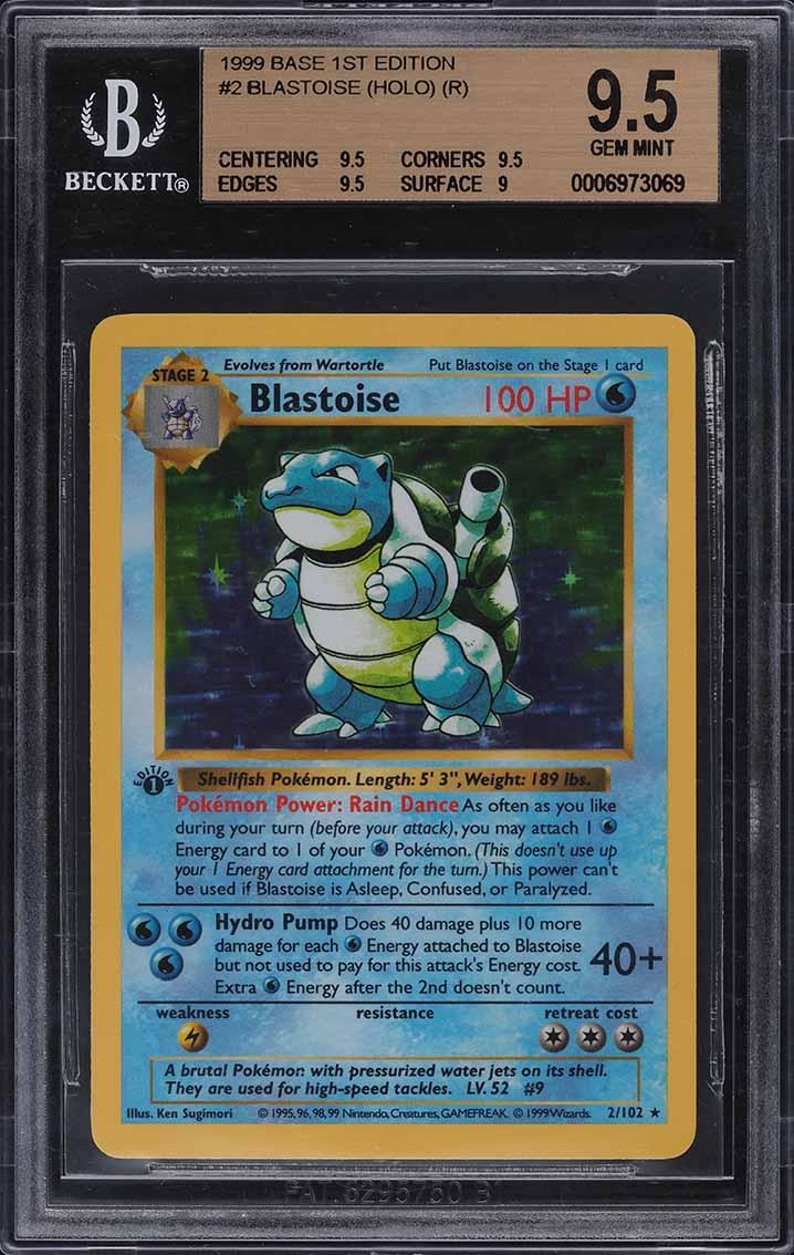 1999 Pokemon Base Set 1st Edition Shadowless Holo Blastoise #2 BGS 9.5 GEM MINT - Image 1