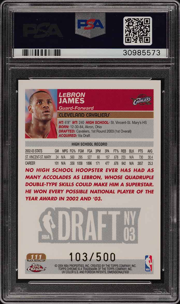 2003 Topps Chrome Black Refractor LeBron James ROOKIE RC /500 #111 PSA 10 (PWCC) - Image 2