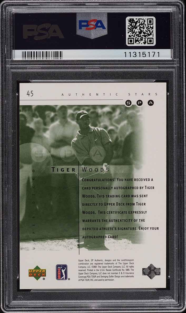 2001 SP Authentic Golf Tiger Woods ROOKIE RC AUTO /900 #45 PSA 10 GEM MINT - Image 2