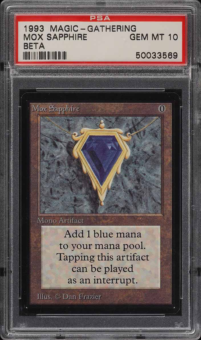 1993 Magic The Gathering MTG Beta Mox Sapphire R A PSA 10 GEM MINT (PWCC) - Image 1