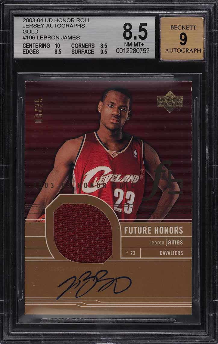 2003 Upper Deck Honor Roll Gold LeBron James ROOKIE RC PATCH AUTO /25 BGS 8.5 - Image 1