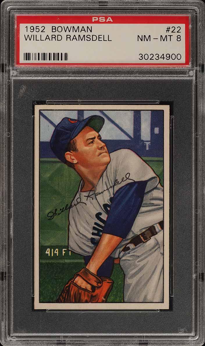 1952 Bowman SETBREAK Willard Ramsdell #22 PSA 8 NM-MT (PWCC) - Image 1