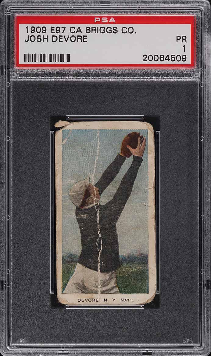 1909 E97 Briggs Lozenge Color Josh Devore PSA 1 PR - Image 1