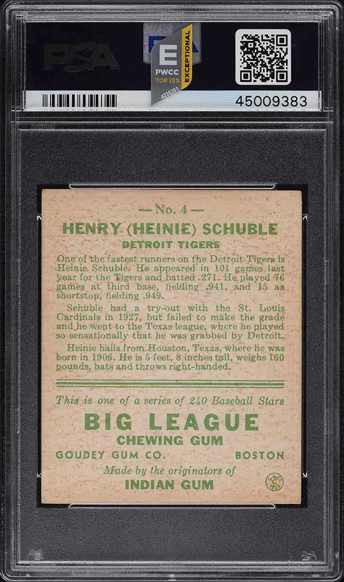 1933 Goudey Heinie Schuble #4 PSA 6 EXMT (PWCC-E) - Image 2