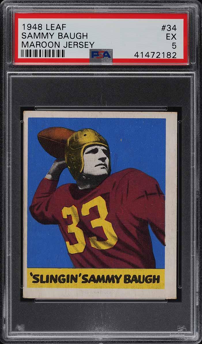 1948 Leaf Football Sammy Baugh ROOKIE RC #34 PSA 5 EX (PWCC) - Image 1