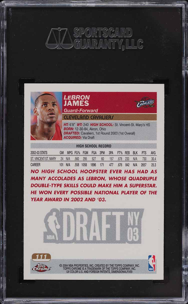 2003 Topps Chrome LeBron James ROOKIE RC #111 SGC 10 PRISTINE GOLD (PWCC) - Image 2