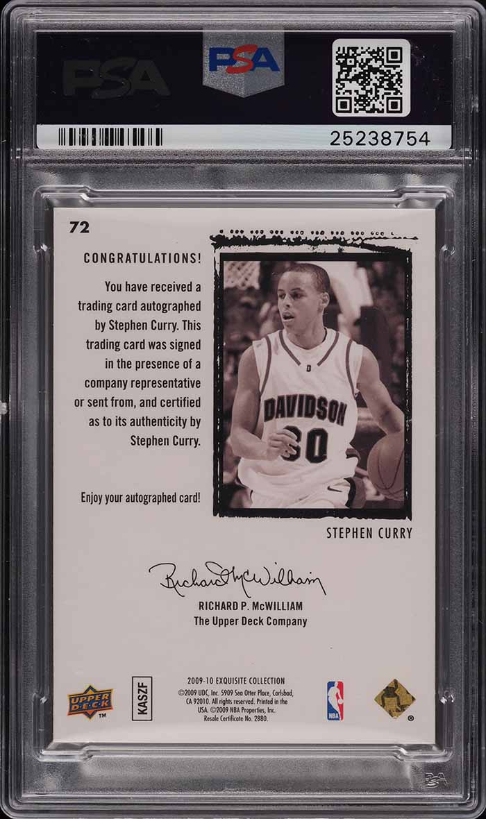 2009 Exquisite Collection Stephen Curry ROOKIE RC PSA/DNA 10 AUTO /225 PSA 10 - Image 2