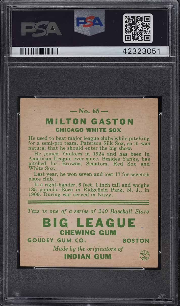 1933 Goudey Milton Gaston #65 PSA 5 EX - Image 2