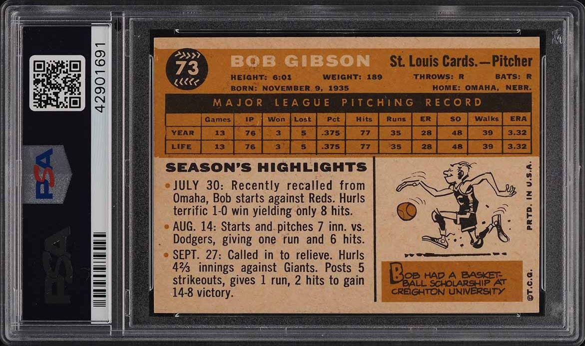 1960 Topps Bob Gibson #73 PSA 6 EXMT - Image 2