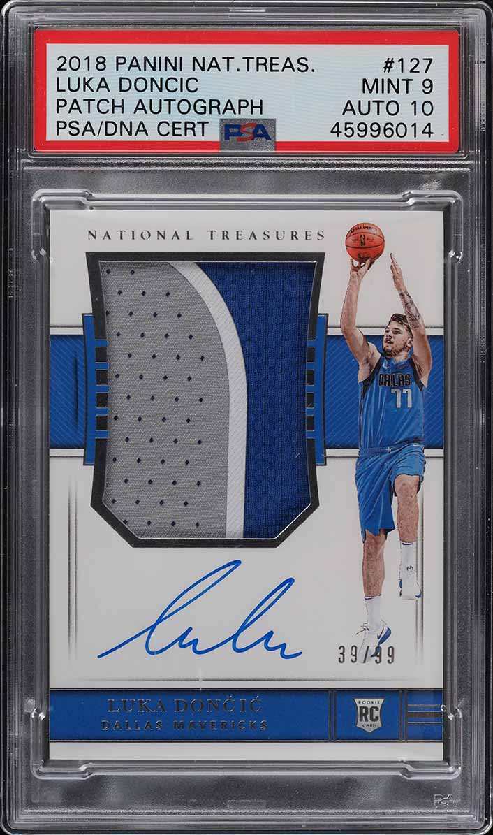 2018 National Treasures Luka Doncic RC PATCH PSA/DNA 10 AUTO /99 PSA 9 (PWCC) - Image 1