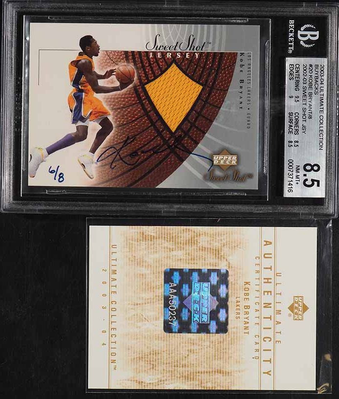 2003 Ultimate Collection Buybacks Kobe Bryant GAME-USED PATCH AUTO /8 BGS 8.5  - Image 1