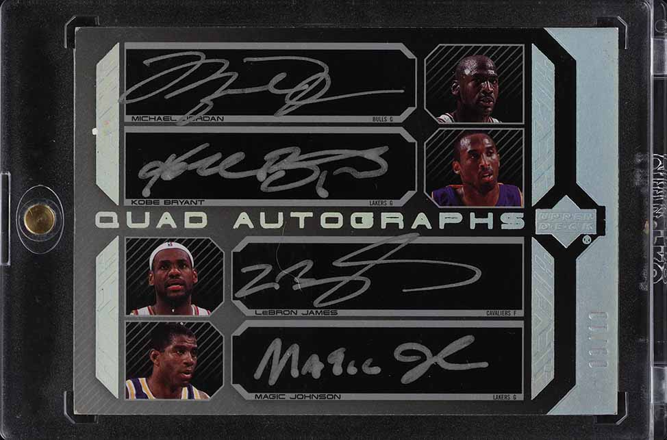 2007 UD Black Quad Michael Jordan LeBron James Kobe Bryant Johnson AUTO /10 - Image 1