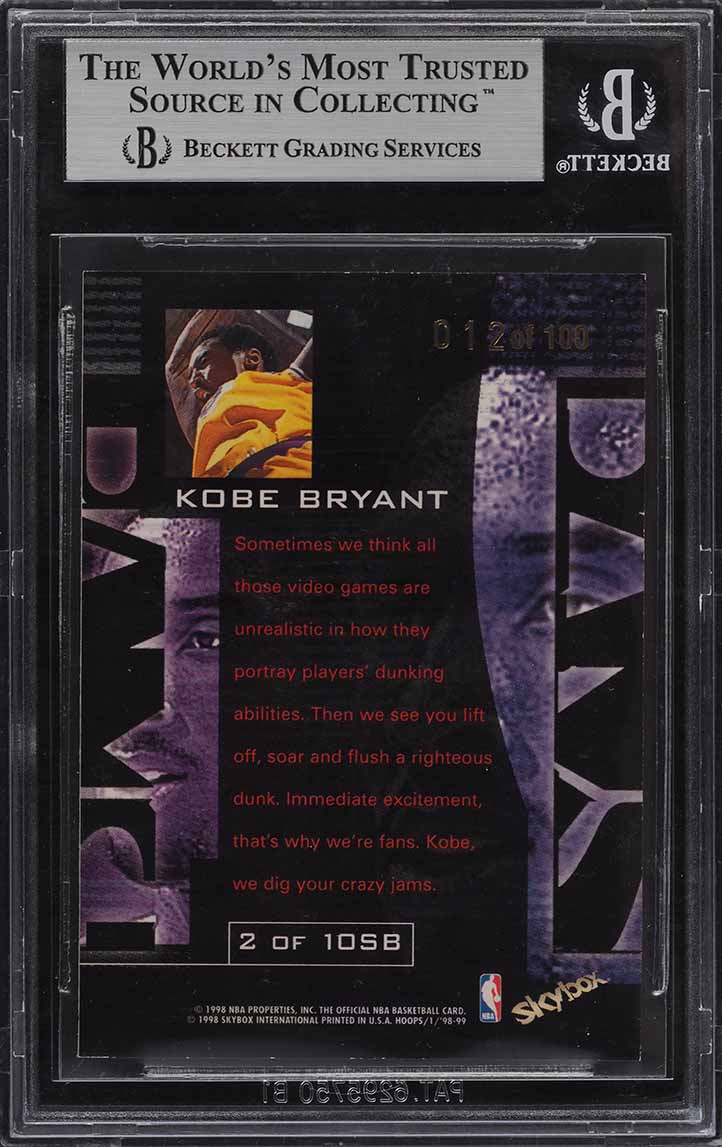 1998 Hoops Slam Bams Kobe Bryant 12/100 #2 BGS 8.5 NM-MT+ - Image 2