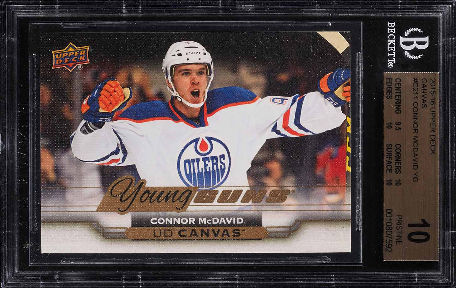 2015 Upper Deck Young Guns Canvas Connor McDavid ROOKIE RC #C211 BGS 10 (PWCC) - Image 1