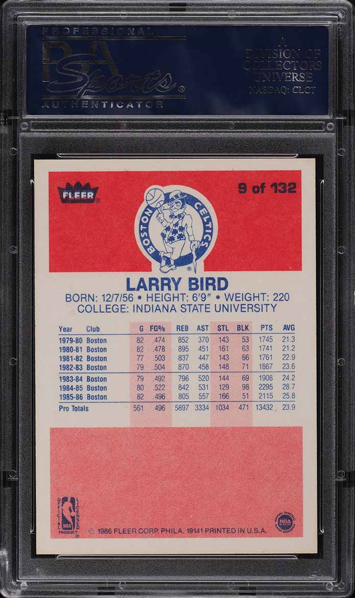 1986 Fleer Basketball Larry Bird #9 PSA 8 NM-MT (PWCC) - Image 2