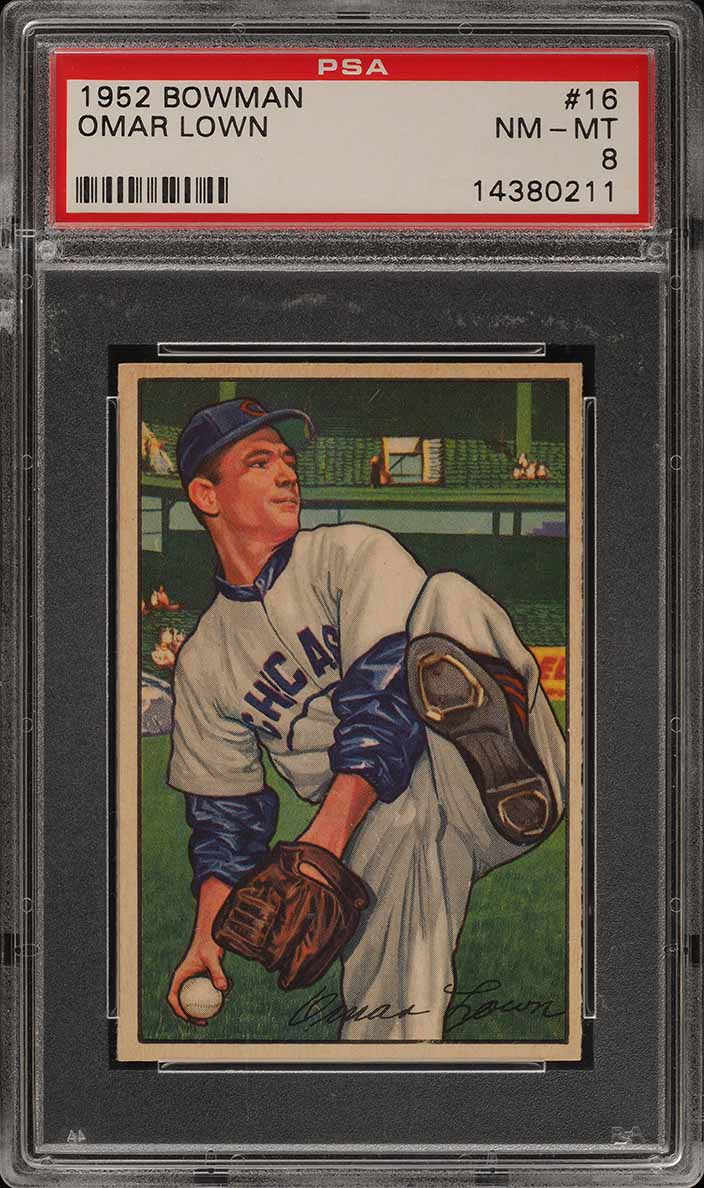 1952 Bowman SETBREAK Omar Lown #16 PSA 8 NM-MT (PWCC) - Image 1