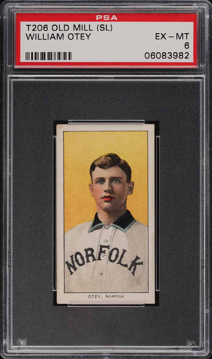 1909-11 T206 SETBREAK William Otey SOUTHERN LEAGUER, OLD MILL PSA 6 (PWCC-A) - Image 1